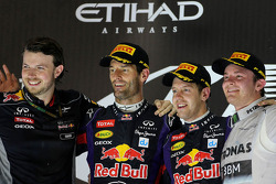 Mark Webber, Red Bull Racing, Sebastian Vettel, Red Bull Racing and Nico Rosberg, Mercedes GP