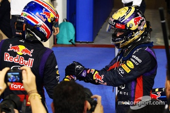 Race winner Sebastian Vettel, Red Bull Racing celebrates in parc ferme with Mark Webber, Red Bull Racing (Left)