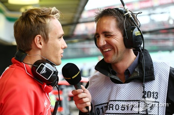 (L to R): Max Chilton, Marussia F1 Team with Tom Clarkson, Journalist and BBC TV Reporter