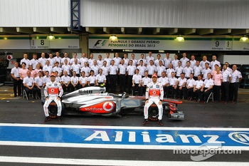 (L to R): Sergio Perez, McLaren and Jenson Button, McLaren at a team photo