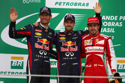 1st place Sebastian Vettel, Red Bull Racing, 2nd place Mark Webber, Red Bull Racing and 3rd Fernando Alonso, Ferrari