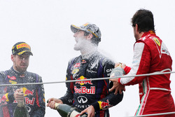 Sebastian Vettel, Red Bull Racing, Mark Webber, Red Bull Racing and Fernando Alonso, Scuderia Ferrari