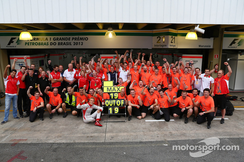 The Marussia F1 Team celebrate tenth position in the Constructors Championship and a 100% scoring record for Max Chilton, Marussia F1 Team