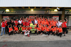 The Marussia F1 Team celebrate tenth position in the Constructors Championship and a 100% scoring record for Max Chilton, Marussia F1 Team