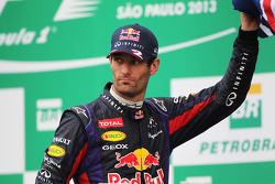 Mark Webber, Red Bull Racing celebrates his second position and final GP on the podium