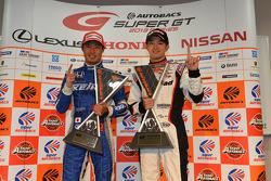 GT500 winner Koudai Tsukakoshi and GT300 winner Daiki Sasaki