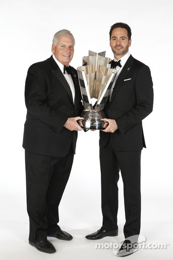 2013 champion Jimmie Johnson and team owner Rick Hendrick