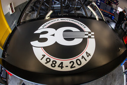 Hendrick Motorsports Chevrolet 30th anniversary signage in the car of Jimmie Johnson, Hendrick Motorsports Chevrolet