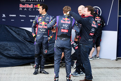 (L to R): Daniel Ricciardo, Red Bull Racing, Sebastian Vettel, Red Bull Racing, Adrian Newey, Red Bull Racing Chief Technical Officer, and Christian Horner, Red Bull Racing Team Principal at the unveiling of the Red Bull Racing RB10