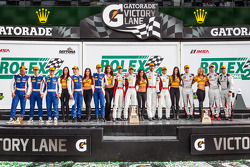 GTD podium: provisional class winners Nelson Canache, Spencer Pumpelly, Tim Pappas, Markus Winkelhock, second place Madison Snow, Jan Heylen, Marco Seefried, third place Maurizio Mediani, Sergey Zlobin, Boris Rotenberg, Mika Salo, Mikhail Aleshin