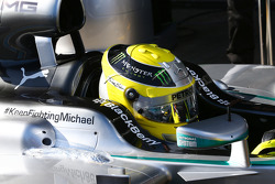 Nico Rosberg, Mercedes AMG F1 W05 with a message of support for Michael Schumacher (GER)