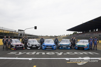 The Holden, Nissan, Volvo, Mercedes and Ford with drivers