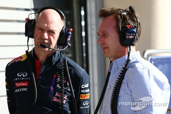 (L to R): Adrian Newey, Red Bull Racing Chief Technical Officer with Christian Horner, Red Bull Racing Team Principal