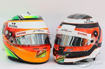 (L to R): The helmets of Sergio Perez, Sahara Force India F1 and team mate Nico Hulkenberg, Sahara Force India F1