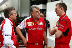(L to R): Pat Fry, Ferrari Deputy Technical Director and Head of Race Engineering with Dieter Gundel, Ferrari Electronics, and James Allison, Ferrari Chassis Technical Director