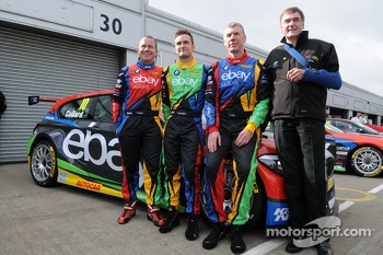 eBay Motors trio Rob Collard, Colin Turkington and Nick Foster with team boss Dick Bennetts