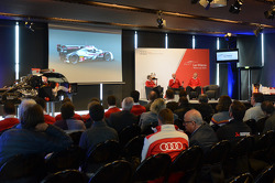 Audi drivers and personnel speak on stage