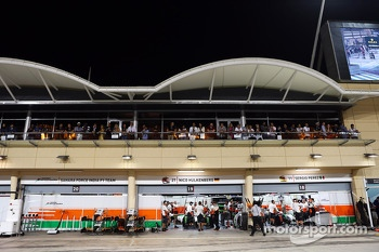 Sahara Force India F1 Team pits during qualifying