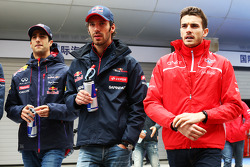 Daniel Ricciardo, Red Bull Racing with Jean-Eric Vergne, Scuderia Toro Rosso and Jules Bianchi, Marussia F1 Team on the drivers parade.