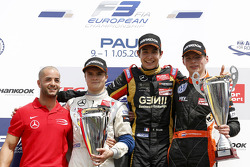 Podium: race winner Esteban Ocon, second place Lucas Auer, third place Max Verstappen