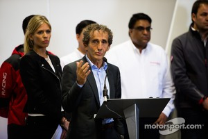 Alain Prost during the presentation of the Formula E headquarters