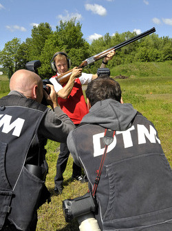 Skeet Shooting with Mattias Ekstrom, Audi Sport Team Abt Sportsline, Audi RS 5 DTM, posing for photographers,