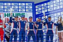 GTC podium: second place Olivier Beretta, David Markozov, Anton Ladygin, third place Kiriil Ladygin, Aleksey Basov, Luca Persiani