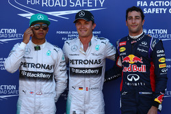 Pole position for Nico Rosberg, Mercedes AMG F1 2nd for Lewis Hamilton, Mercedes AMG F1 and 3rd for Daniel Ricciardo, Red Bull Racing RB10