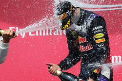 Race winner Daniel Ricciardo, Red Bull Racing celebrates with the champagne on the podium