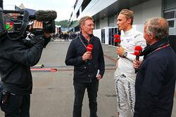 Max Chilton, Marussia F1 Team with Simon Lazenby, Sky Sports F1 TV Presenter, and Johnny Herbert, Sky Sports F1 TV Presenter (Right)