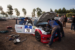 Typical Nürburgring scene: #78 Hofor Racing BMW M3 GTR gets repaired in a public parking at Pflanzgarten