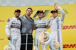 The podium, Mercedes AMG F1, second; Lewis Hamilton, Mercedes AMG F1, race winner; Daniel Ricciardo, Red Bull Racing, third