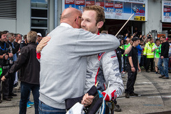 Race winner René Rast celebrates with Audi quattro GmbH former boss Werner Frowein