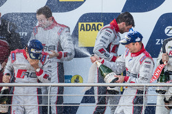 Podium: race winners Christopher Haase, Christian Mamerow, René Rast, Markus Winkelhock celebrate