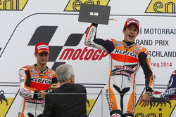 MOTOGP: Podium: race winner Marc Marquez, second place Dani Pedrosa