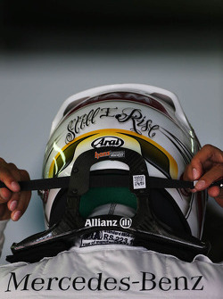 Lewis Hamilton, Mercedes AMG F1, helmet and HANS device