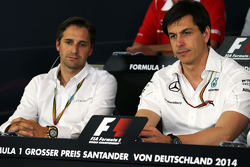 F1: (L to R): Christian Albers, Caterham F1 Team, Team Principal and Toto Wolff, Mercedes AMG F1 Shareholder and Executive Director in the FIA Press Conference