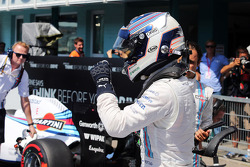 Valtteri Bottas, Williams celebrates his second position in qualifying parc ferme