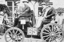 ROADRACING: Albert Lemaître (pictured on left) finished second in a 3HP Peugeot but was judged the winner