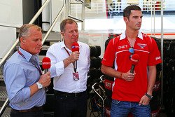Johnny Herbert, Sky Sports F1 Presenter with Martin Brundle, Sky Sports Commentator and Alexander Rossi, Marussia F1