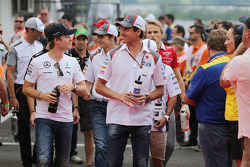 Nico Rosberg, Mercedes AMG F1 and Adrian Sutil, Sauber on the drivers parade.