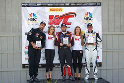 GT-A class winners podium: Albert v T u Taxis (second, left), Michael Mills (first, center), Jim Taggart (third, right)