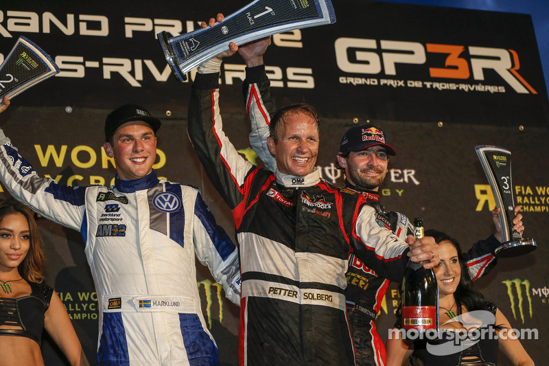 Podium: winner Petter Solberg, second place Anton Marklund, third place Timur Timerzyanov