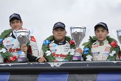 Race winner Martin Cao, second place Matt Rao, third place Peter Li Zhi Cong
