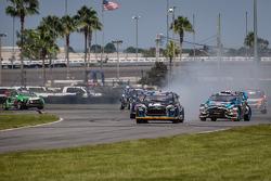 #14 Barracuda Racing Ford Fiesta ST: Austin Dyne and #43 Hoonigan Racing Division Ford Fiesta ST: Ken Block battle