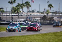Start: #43 Hoonigan Racing Division Ford Fiesta ST: Ken Block and #07 SH Racing Rallycross Ford Fiesta ST: Nelson Piquet Jr. battle