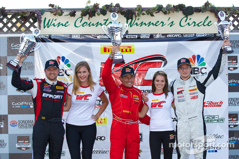 GT Winners Podium: Ryan Dalziel (second, left), Anthony Lazzaro (first, center), Robert Thorne (third, right)