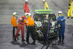 Denny Hamlin, Joe Gibbs Racing Toyota crashes out