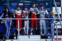 Podium: race winner Santino Ferrucci, second place Martin Cao, third place Matt Rao
