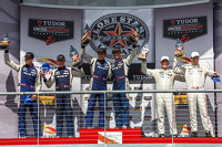 GTLM class podium: first place Jonathan Bomarito, Kuno Wittmer, second place Dominik Farnbacher, Marc Goossens, thrid place Patrick Long, Michael Christensen